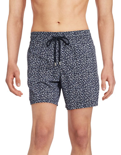 Vilebrequin Moorea Turtle Print Swim Trunks-NAVY-Large