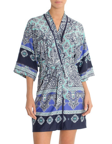 In Bloom Multi-Pattern Wrap Robe-BLUE MULTI-Medium/Large