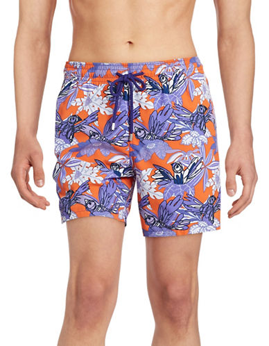 Vilebrequin Moorea Tropical Swim Trunks-ORANGE-Small