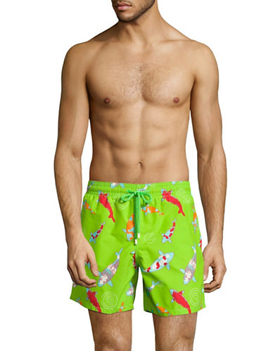 Vilebrequin Peaceful Carps Swim Trunks-GREEN-Medium