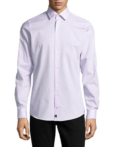 Strellson Slim Fit Car Print Sport Shirt-PURPLE-17-32/33