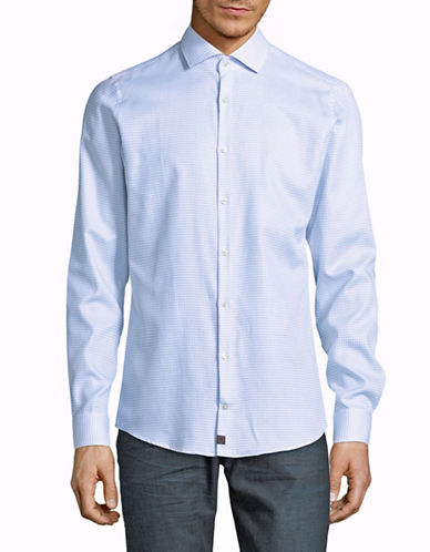 Strellson Sean Slim Fit Dobby Check Shirt-BLUE-17-32/33