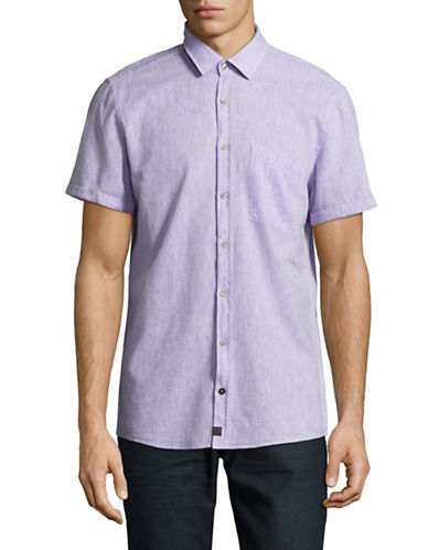 Strellson Short Sleeve Linen Shirt-PURPLE-X-Large
