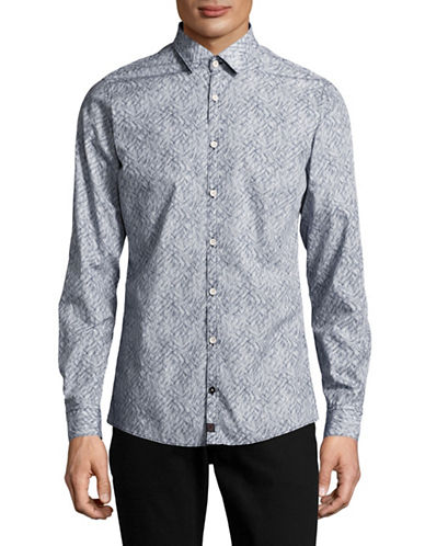 Strellson Slim Fit Soundwave Sport Shirt-NAVY-Medium