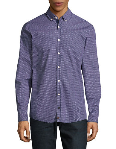 Strellson Modern Fit Dobby Sport Shirt-PURPLE-Large