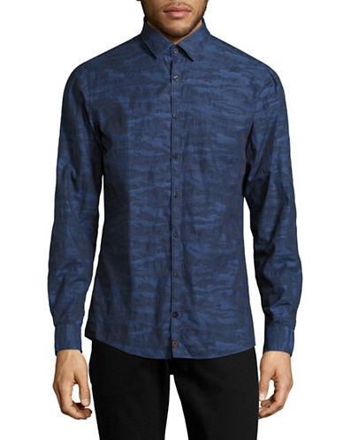 Strellson Slim Fit Camo Sport Shirt-BLUE-X-Large