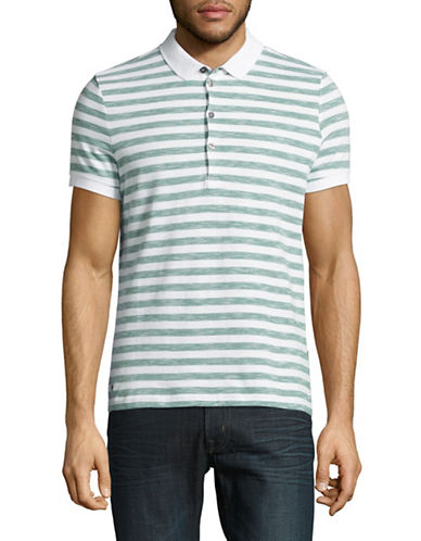 Strellson J-PETER-P Stripe Cotton Polo Shirt-MEDIUM GREEN-Large