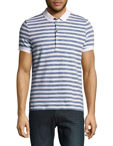 Strellson J-PETER-P Stripe Cotton Polo Shirt-BLUE-Medium