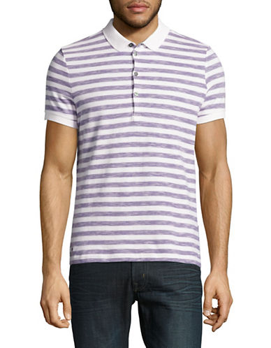 Strellson J-PETER-P Stripe Cotton Polo Shirt-PURPLE-Large