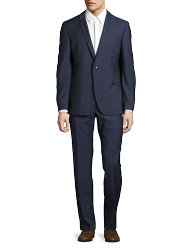 Strellson Slim Fit Textured Wool Suit-MEDIUM BLUE-44