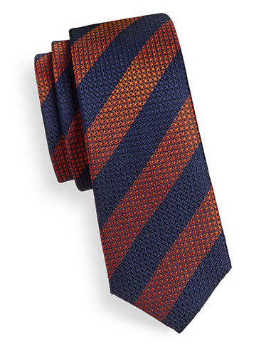 Strellson Textured Stripe Silk Tie-ORANGE-One Size