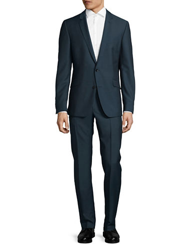 Strellson Slim-Fit Dobby Weave Virgin Wool Suit-BLUE-46