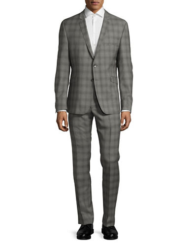 Strellson Extra-Slim-Fit Shadow Plaid Virgin Wool Suit-MEDIUM GREY-40