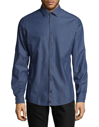 Strellson Sidney-W Cotton Long Sleeve Print Shirt-BLUE-Small