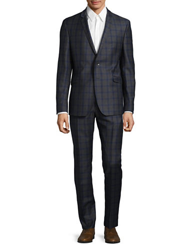 Strellson Checkered Wool Suit-BLUE-40