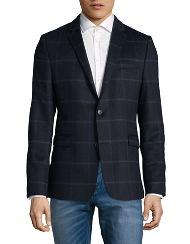 Strellson Wool Corso Checked Sports Jacket-BLUE-40