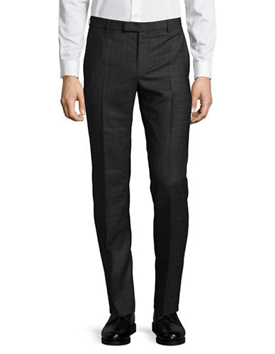 Strellson Tonal Virgin Wool Dress Pants-BLACK-36