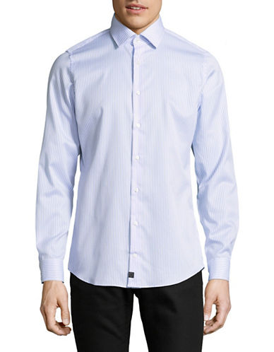 Strellson Slim-Fit Cotton Sport Shirt-BLUE-16.5-32/33