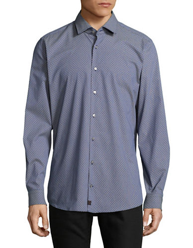 Strellson Slim-Fit Cotton Sport Shirt-BLUE-17-32/33