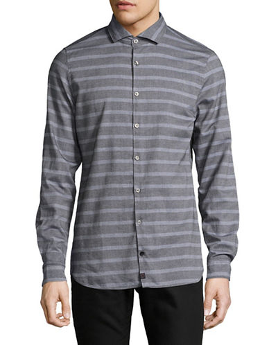 Strellson Shayne Cotton Sport Shirt-GREY-Large