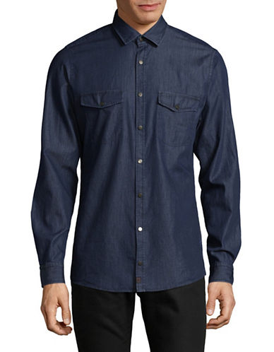 Strellson Stellan Cotton Sport Shirt-BLUE-X-Large
