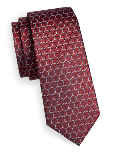 Strellson Honeycomb Silk Tie-RED-One Size