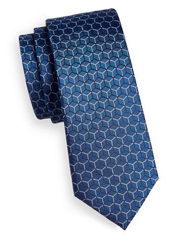 Strellson Honeycomb Silk Tie-BLUE-One Size