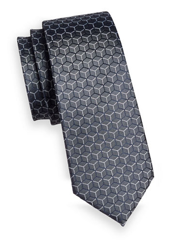 Strellson Honeycomb Silk Tie-GREY-One Size