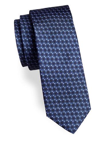 Strellson Geo-Print Silk Tie-BLUE-One Size