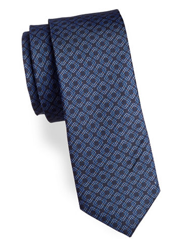 Strellson Geo-Print Silk Tie-NAVY-One Size