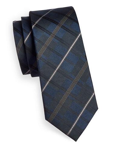 Strellson Plaid Silk Tie-BLUE-One Size