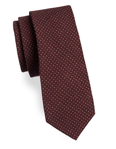 Strellson Woven Polka-Dot Silk Tie-RED-One Size