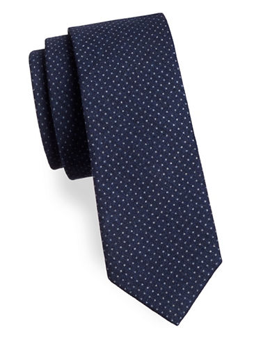 Strellson Woven Polka-Dot Silk Tie-BLUE-One Size