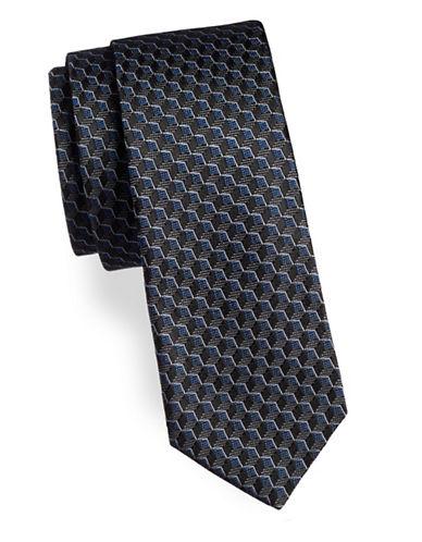 Strellson Cube Pattern Silk Tie-BLUE-One Size