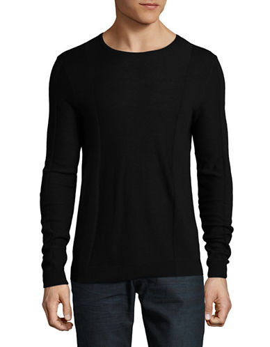 Strellson Virgin Wool Rib-Panel Sweater-BLACK-X-Large