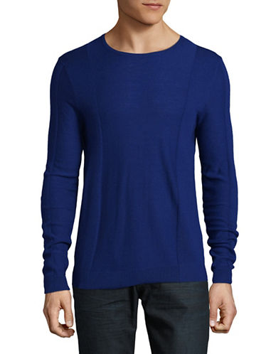 Strellson Virgin Wool Rib-Panel Sweater-BLUE-X-Large