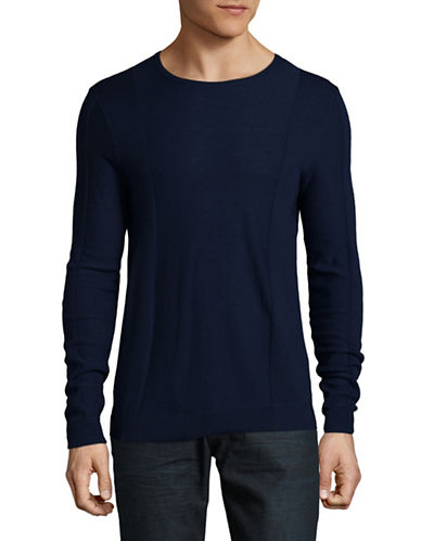Strellson Virgin Wool Rib-Panel Sweater-NAVY-Large