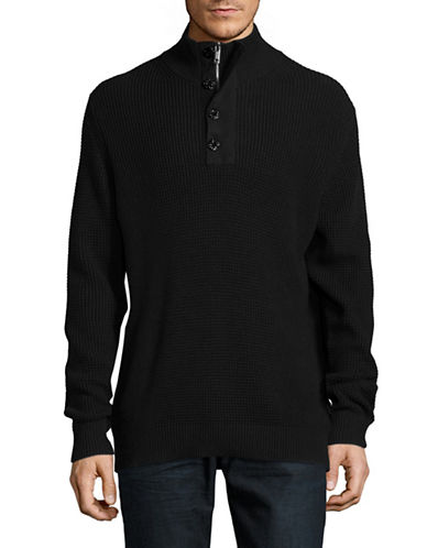 Strellson Quarter-Button Mock Neck Thermal Sweater-BLACK-Large