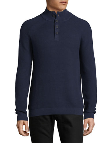 Strellson Farmer Mock Neck Cotton Sweatshirt-BLUE-Small