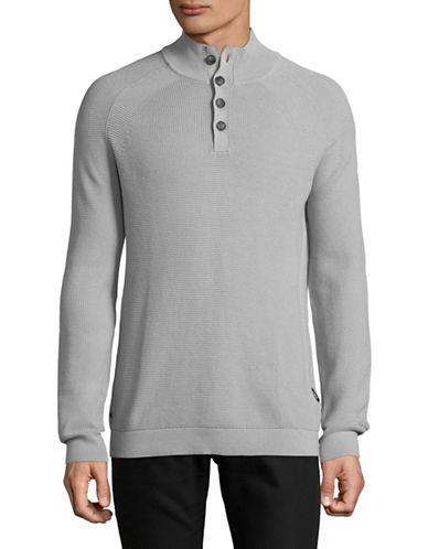 Strellson Farmer Mock Neck Cotton Sweatshirt-SILVER-Large