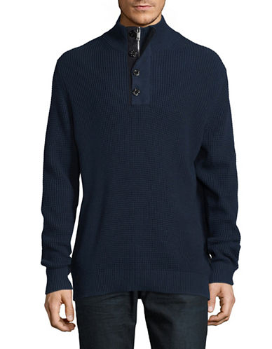 Strellson Quarter-Button Mock Neck Thermal Sweater-BLUE-XX-Large