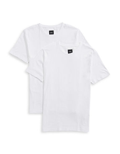 Strellson Two-Pack Cotton Short Sleeve T-Shirts-WHITE-Small
