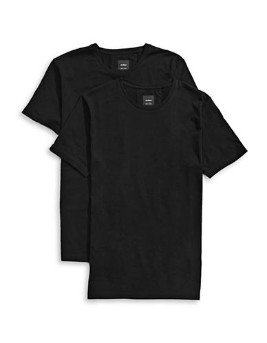 Strellson Two-Pack Cotton Short Sleeve T-Shirts-BLACK-Small
