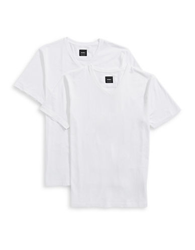 Strellson Two-Pack V-Neck T-Shirts-WHITE-X-Large