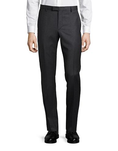 Strellson Mercer Slim-Fit Checkered Virgin Wool Pants-GREY-40