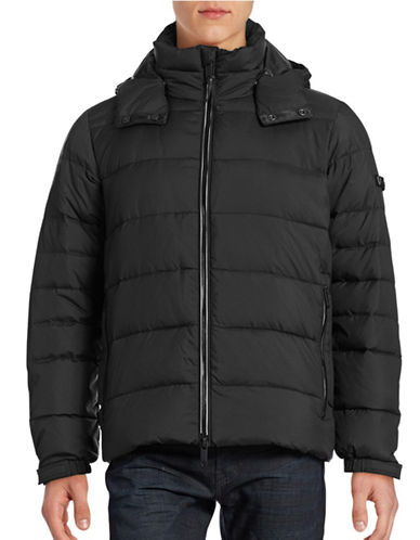 Strellson Hooded Quilt Zip Coat-BLACK-44