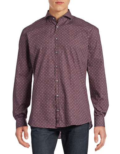 Strellson Slim-Fit Paisley Cotton Shirt-DARK RED-16-32/33