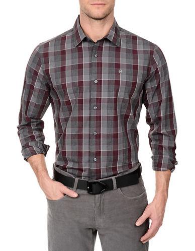 Victorinox Large Scale Plaid Cotton Shirt-PURPLE-Large
