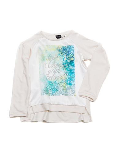 Guess Long Sleeve Floral Sparkle Colours Top-WHITE-2T