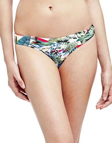 Guess Reversible Tropical Printed and Striped Bikini Bottoms-TROPICAL STRIPE-X-Small
